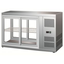 Vetrinetta refrigerata ventilata acciaio inox 18/10 cap.110Lt con porte scorrevoli