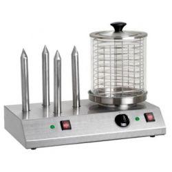 Cuoci hot-dog 4 spiedini con cilindro in vetro