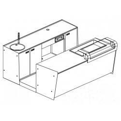 Banco bar + Retrobanco Lunghezza 2,5metri Drop-in Vetro Supporto