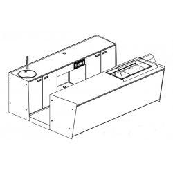 Banco bar + Retrobanco Lunghezza 3metri Drop-in Vetro curvo