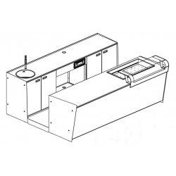 Banco bar + Retrobanco Lunghezza 3metri Drop-in Vetro supporto
