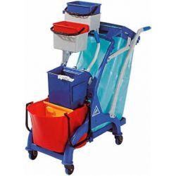 Carrello in plastica con secchio,divisorio,strizzatore, portasecco e ganci