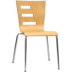 Sedia Elle acciaio in cromato Ø22 mm e scocca in legno multistrato