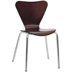 Sedia Cuore in acciaio cromato Ø22 mm e scocca in legno multistrato