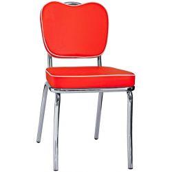 Sedia Regina in acciaio cromato con seduta e schienale in ecopelle