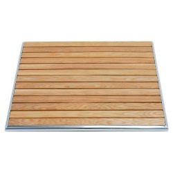 Piano quadrato in doghe di legno bordato in alluminio