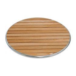 Piano rotondo in doghe di legno bordato in alluminio