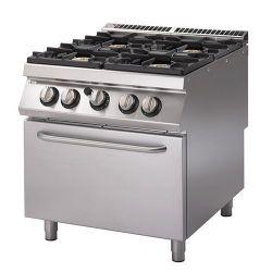 Cucina Gas 4 fuochi forno elettrico statico bacinelle smaltate