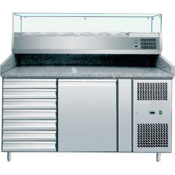 Banco pizza 60x40 1 porta e 7 cassetti-vetrina 6 bacinelle GN1/3+G/N1/2 con piano in granito