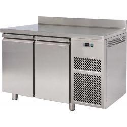 Tavolo refrigerato 2 porte piano in acciaio inox con alzatina prof.600 TN