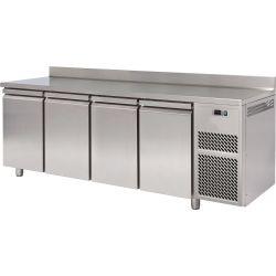 Tavolo refrigerato 4 porte piano in acciaio inox con alzatina prof.600 TN