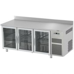 Tavolo refrigerato 3 porte vetro piano in acciaio inox e alzatina prof.700 TN