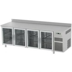 Tavolo refrigerato 4 porte vetro piano in acciaio inox prof.700 TN