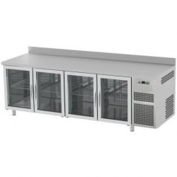 Tavolo refrigerato 4 porte vetro piano in acciaio inox e alzatina prof.700 TN