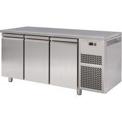 Tavolo refrigerato 3 porte piano in acciaio inox prof.800 TN