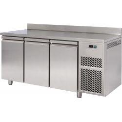 Tavolo refrigerato 3 porte piano in acciaio inox con alzatina prof.800 TN