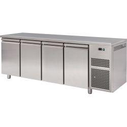 Tavolo refrigerato 4 porte piano in acciaio inox prof.800 TN