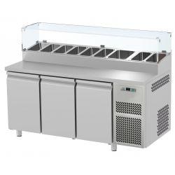 Tavolo refrigerato 3 porte con vetrina prof.700 Snack GN1/1