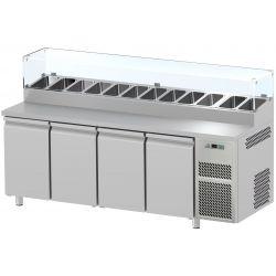 Tavolo refrigerato 4 porte con vetrina prof.700 Snack GN1/1