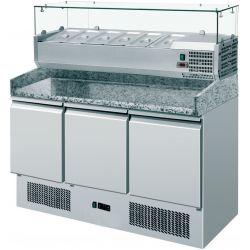 Saladette 3 porte - vetrina refrigerata GN 1/4 e piano in granito
