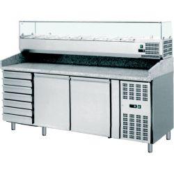Banco pizza 60x40 2 porte 7 cassetti - vetrina 10 bacinelle GN1/4 e piano in granito