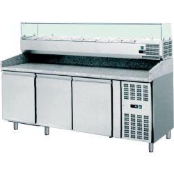 Banco pizza 60x40 3 porte-vetrina 9 bacinelle GN1/3 con piano in granito