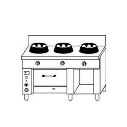 Cucina cinese 3 fuochi con forno a gas