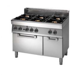 Cucina Gas 6 fuochi forno elettrico a convezione armadio neutro bacinelle smaltate